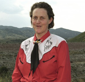 Temple Grandin, in a horseshirt, a fitting connection to her PhD in animal science from Colorado (US) State University