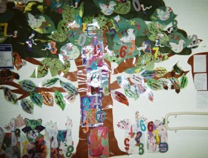 Countdown to the holidays with an Attentionology Tree that includes numbers and symbols of staying focused and on task in class.