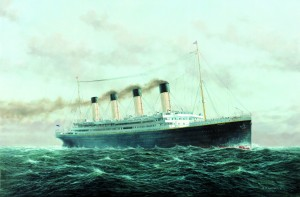 A depiction of the ill-fated sailing of the RMS Titanic