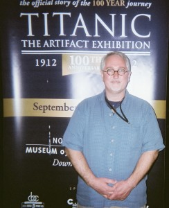 J. Albert Ervin at the entrance to the multi-sensory Titanic exhibition.