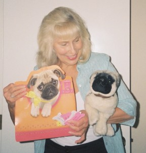 Stuffed animals (and real ones), like Petey the Pug catch attention and can help children learn.
