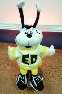 """Ed,"" a lively bumblebee, promotes good sportsmanship and other desirable character traits."