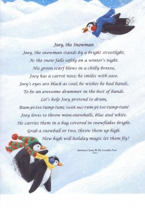 Penguins in this print of Joey, the Snowman laugh at Joey's antics.