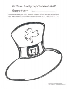 Kids love shape poems! Invite them to write Lucky Leprechaun Hat Shape Poems that leave room around the outside of the hat and inside the brim for poetry.