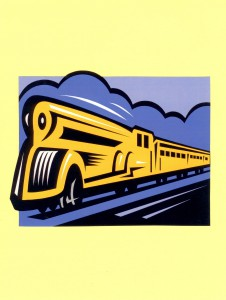Post a train on a bulletin board. Invite students to write expressive words on cards to tack to the train cars.