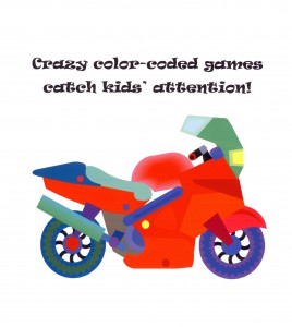 Show a multi-colored motorcycle or other vehicle with wheels to introduce kids to a new kind of color wheel.