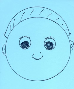 Ask your class to guess what's missing on this face...eyes in place, nose centered well. They'll guess right...a smile is missing on this face!