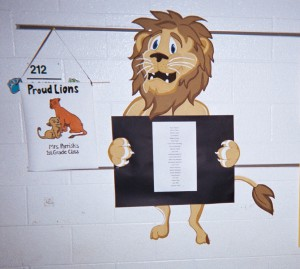 One teacher posts Proud Lion with a sign up sheet for kids to join his promise to be proud of practicing good conduct.