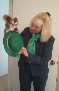 Slip a furry hand puppet, like a smart squirrel on your hand to share a limerick. Use a St. Patrick's Day hat for your stage.