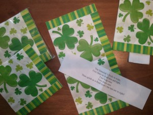 March is the time to grab a shamrock! Hide limerick strips inside St. Patrick's Day paper napkins and let students find them.