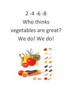 Use numbers to make easy rhymes into cheers. Three cheers for healthy living!